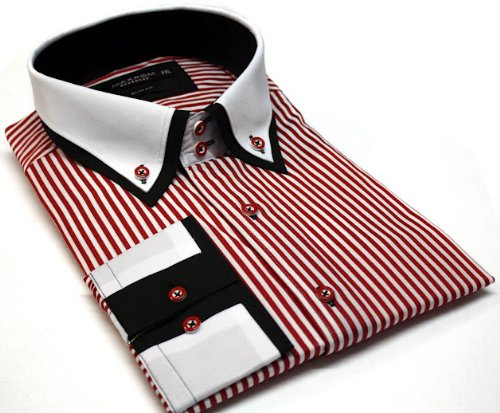 Men's Formal Casual Shirts Double Collar Button Down Stripe Red Colour