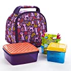Gabby Kids' Lunch Bag Kit with Dip N Dunk, 1/2 cups & Lunch Pod (Paisley Cat)