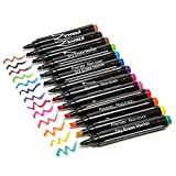 ZenZoi Chisel Tip Dry Erase Whiteboard Markers Set with eBook, Vivid Fresh Colors - Pack of 13