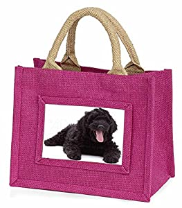 Black Labradoodle Dog Little Girls Pink Shopping Bag