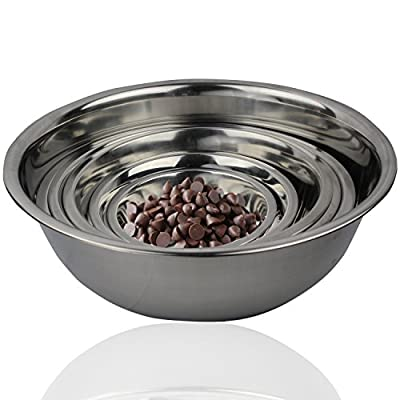 FineDine Stainless Steel Mixing / Prep Bowl Kitchen Set, Curved Lip and Flat Base • Use for Numerous Uses Such as Cooking and Baking • Set of 6, High Quality, Mirror Finish