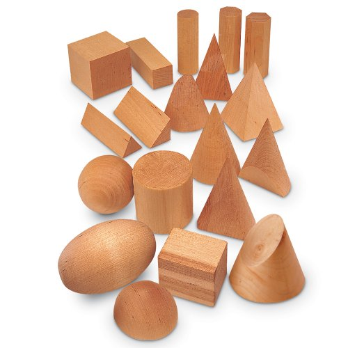 Learning Resources Wood Geometric Solids Set Of 19