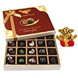 Chocholik Belgium Chocolates - Beautiful 20 Pc Mix Assorted Chocolate Box With Small Ganesha Idol - Diwali Gifts