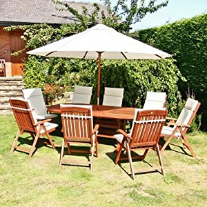 BillyOh Prestige Oval Ext 8 Seat Wooden Garden Furniture Set With
