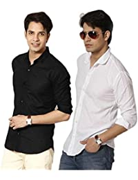 Plain Black Casual Pack Of 2 Shirts Black Nd White 100% Cotton Shirts For Men's