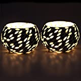 EarthenMetal Handcrafted Black & White Beads Decorated Tealight Holder (Candle Light Holder)- Set Of 2