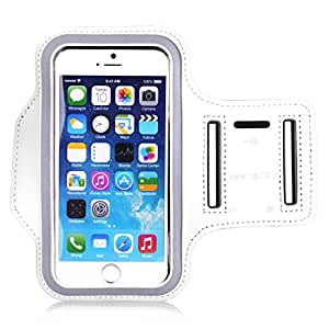 iPhone 6s / iPhone 6 Armband, MoKo Sports Armband for Apple iPhone 6s / iPhone 6, Key Holder & Card Slot, Water Resistant, Sweat-proof, WHITE (Size S, Compatible with Cellphones up to 5.2 Inch)