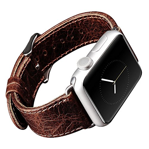 Apple Watch Leather Band, Icarercase Vintage Series Genuine Leather Watchband Strap Replacement iWatch Wristband Link Bracelet with Secure Metal Clasp Buckle for Apple Watch (Coffee for 38mm) 0