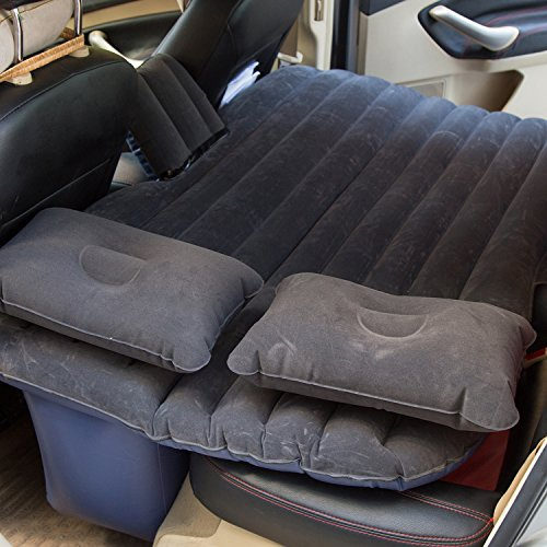 Goldhik Car Travel Inflatable Mattress Flocking Air Bed Camping Universal SUV Back Seat Extended Air Couch with Two Air Pillows (Black)