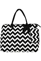 Quilted Chevron Print Over Night Tote Bag