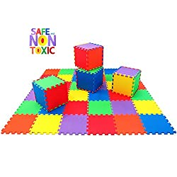Non Toxic Extra Thick 36 Piece Children Play Mat Comfortable Cushiony Foam Floor Puzzle Mat, 6 Vibrant Colors