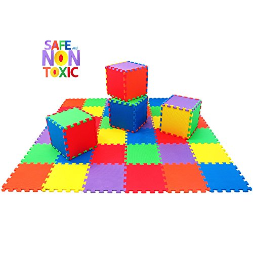 NON-TOXIC Extra-Thick 36 Piece Children Play & Exercise Mat - Comfortable Cushiony Foam Floor Puzzle Mat, 6 Vibrant Colors for Kids & Toddlers (Fairy Tail Part 14 compare prices)