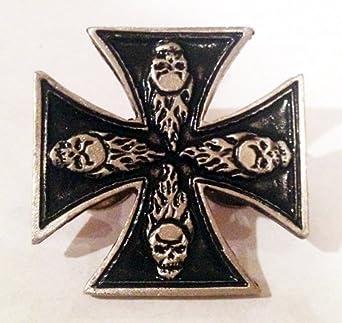 Metal Pewter Lapel Pin - Iron Cross w/ Dead Flaming Skull Head Faces