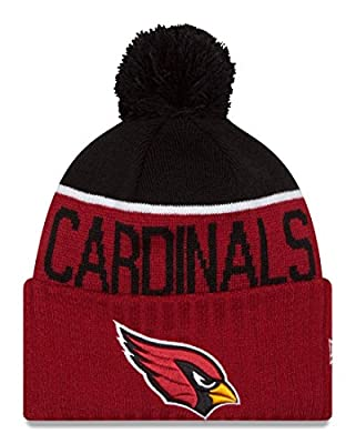 New Era Knit Arizona Cardinals Red On Field Sideline Winter Stocking Beanie Pom Hat Cap 2015
