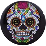 Morella Unisex Glas Click-Button Druckknopf Totenkopf Mardi Gras bunt