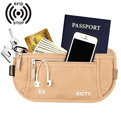 Kicty® ウエストバッグ トラベルマネーベルト パスポート クレジットカード 現金 財布など収納可能 旅行貴重品収納 RFIDブロッキング素材採用 防犯グッズ フリーサイズ