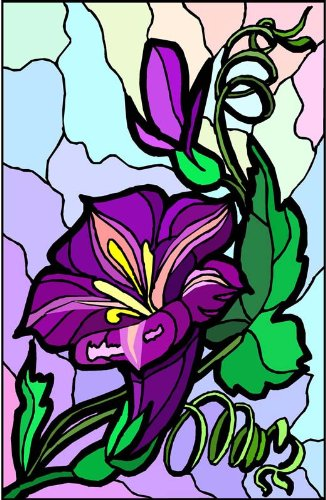 Purple Stargazer Lily Flower Etched Vinyl Stained Glass