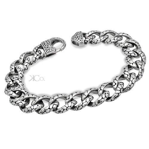 14MM Men's Stainless Steel Oxidized Biker Curb Link Bracelet 8IN