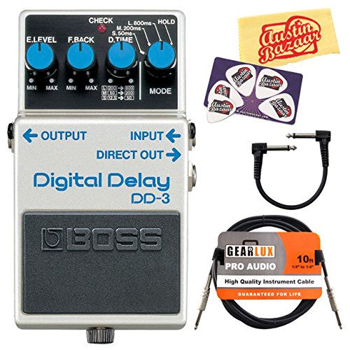 Boss DD-3 Digital Delay Guitar Effects Pedal Bundle with Gearlux Instrument Cable, Patch Cable, Picks, and Polishing Cloth (Boss Digital Reverb compare prices)