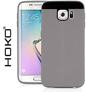 Galaxy S6 Edge Case, HOKO® Fusion Hybrid (Exact-Fit) Grip TPU Hybrid Back Case Cover For Samsung Galaxy S6 Edge (Grey)