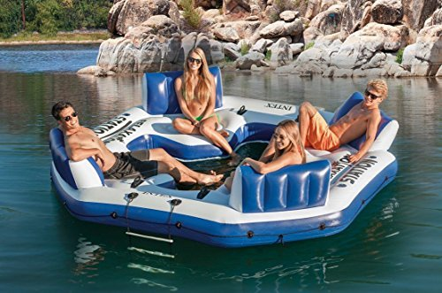 Intex Inflatable Floating Island Raft 4 Person River Lake Ocean Pool Party Tube Blue by Intex