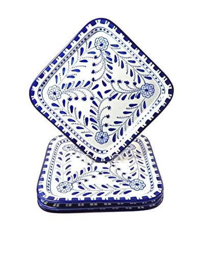 Le Souk Ceramique Azoura Set of 4 Square Plates, Blue/White