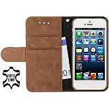"""StilGut Ledertasche """"Talis"""" Book Type Case V2 für Apple iPhone 5 & iPhone 5s aus echtem Leder mit Fach für Kredit- oder Visitenkarten, Cognac Vintage"""