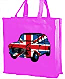 Best of British, Mini Car Union Jack Cotton shopping bag pink