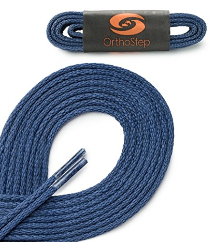 OrthoStep Waxed Very Thin Dress Round Classic Blue 36 inch Shoelaces 1 Pair Pack (Blue Dress Shoe Laces compare prices)