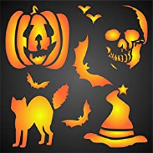 Halloween 2 size 7quotw x 7quoth Reusable Stencils for Painting - Best Quality Scrapbooking Wall Art