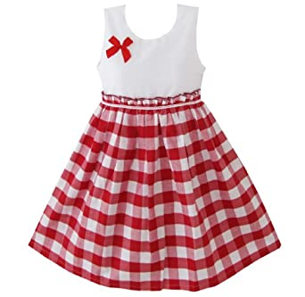 Amazon.com: Sunny Fashion Girls Dress Red Tartan Sundress