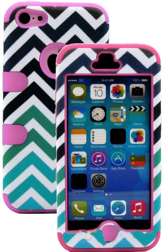 Mylife (Tm) Bubblegum Pink + Colorful Chevron Print 3 Layer (Hybrid Flex Gel) Grip Case For New Apple Iphone 5C Touch Phone (External 2 Piece Full Body Defender Armor Rubberized Shell + Internal Gel Fit Silicone Flex Protector + Lifetime Waranty + Sealed