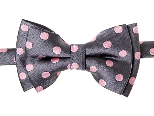 Retreez Classic Polka Dots Woven Microfiber Pre-Tied Boy'S Bow Tie - Grey With Pink Dots - 6 - 18 Months