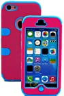 myLife Sky Blue + Hot Pink Flat Color Style 3 Layer (Hybrid Flex Gel) Grip Case for New Apple iPhone 5C Touch Phone (External 2 Piece Full Body Defender Armor Rubberized Shell + Internal Gel Fit Silicone Flex Protector)