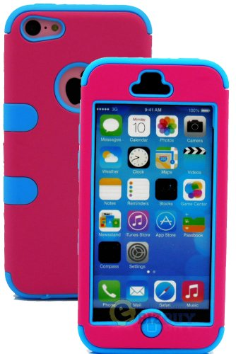 Mylife (Tm) Sky Blue + Hot Pink Flat Color Style 3 Layer (Hybrid Flex Gel) Grip Case For New Apple Iphone 5C Touch Phone (External 2 Piece Full Body Defender Armor Rubberized Shell + Internal Gel Fit Silicone Flex Protector + Lifetime Waranty + Sealed Ins