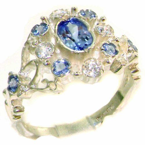 High Quality Tanzanite & Diamond Solid 9K White Gold Womens Ring - Size 4 - Finger Sizes 4 To 12 Available - Suitable As An Anniversary Ring, Engagement Ring, Eternity Ring, Or Promise Ring