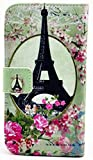 myLife White and Pink {Vintage Eiffel Tower and FlowersDesign} Faux Leather (Card, Cash and ID Holder + Magnetic Closing) Slim Wallet for Galaxy Note 3 Smartphone by Samsung (External Textured Synthetic Leather with Magnetic Clip + Internal Secure Snap In Closure Hard Rubberized Bumper Holder)
