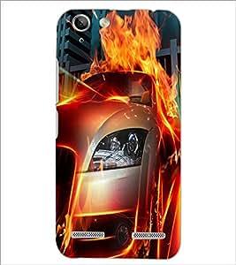 PrintDhaba Burning Car D-2044 Back Case Cover for LENOVO VIBE K5 PLUS (Multi-Coloured)