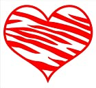 Zebra Print Heart Decal Sticker Laptop, Notebook, Window, Car, Bumper, Etc... Stickers 5.75x5in. in RED-Exterior Window Sticker with Free Shipping