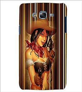 PrintDhaba Gun Girl D-4528 Back Case Cover for SAMSUNG GALAXY J7 (Multi-Coloured)