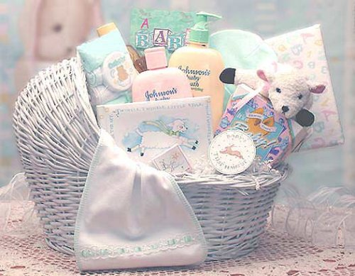 Welcome Baby Bassinet Gift Basket -Blue