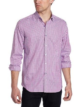 Stone Rose Men's Check Woven Shirt, Purple/Navy, Small