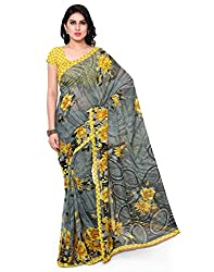 Surat Tex Grey Color Dani Georgette Printed Casual Wear Saree with Blouse Piece-I707SED-3