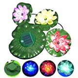 TSSS®Solar Powered Color Changing Floating Lotus Flower Night Lamp with red blue green led for Garden Pond Pool
