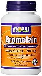 NOW Foods Bromelain 2400Gdu/500mg, 360 Vcaps Pack Now-8adn