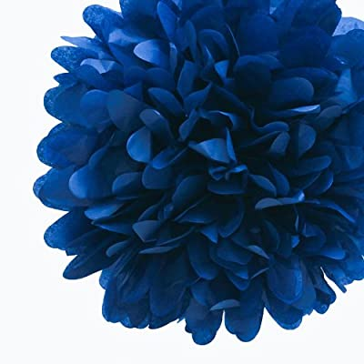 "Dress My Cupcake 14"" Navy Blue Tissue Paper Pom Poms, Set of 4 - Wedding Party Supplies, Wedding Shower Decorations"