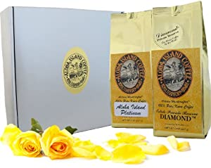100% Pure Kona Coffee Gift, Silver and Gold Gourmet Gift for Mothers Day, Fathers Day, Birthdays, Christmas, and All Occasions, 1 Lb Whole Bean