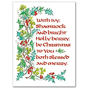 Irish Deluxe Card with With Shamrock and Holly Berry and Envelope