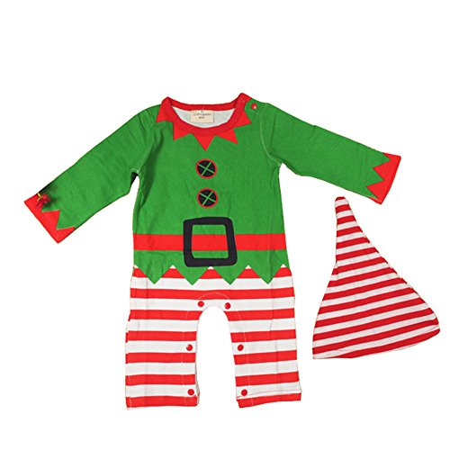 Baby Babies Santa's Elf Costume Baby Christmas suits leotard Santa hat Jumpsuit climbing clothes Rompers Hat Set 100% Cotton 1 Peice Christmas