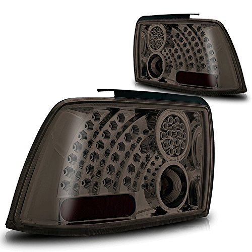 Premium 2Pc Tail Lights Fit 99-04 Ford Mustang Led Tail Lights - Chrome Reflector / Smoke Lens - Light Bulb Type Led. (1 Pair Includes Both Driver & Passenger Sides.)